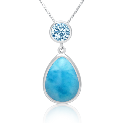 Etta Pear Larimar & Blue Topaz Pendant - Exclusive Diamond Co