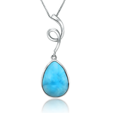 Poppy Rose Larimar Drop Pendant - Exclusive Diamond Co