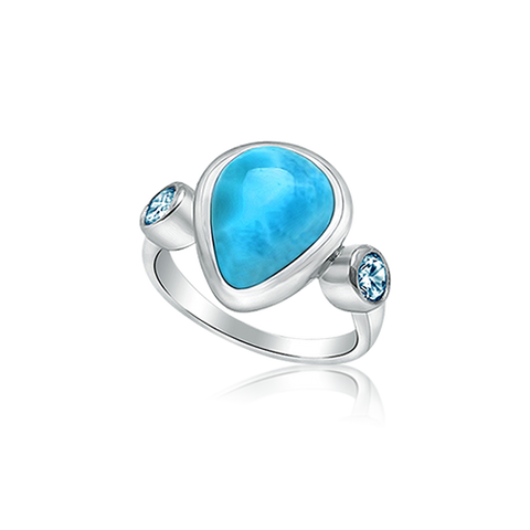 Etta Pear Larimar & Blue Topaz Ring - Exclusive Diamond Co
