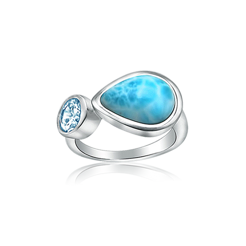 Zenia Larimar & Blue Topaz Ring - Exclusive Diamond Co