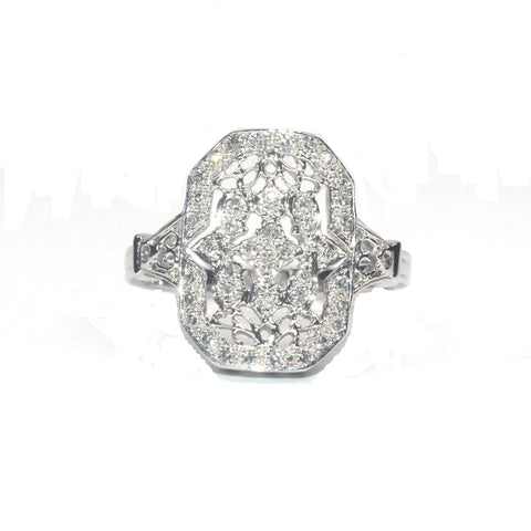 Carley Filligree White Diamond Ring
