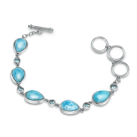 Etta Pear Larimar & Blue Topaz Bracelet - Exclusive Diamond Co