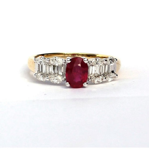 Anita Red Ruby & White Diamond Ring - Exclusive Diamond Co