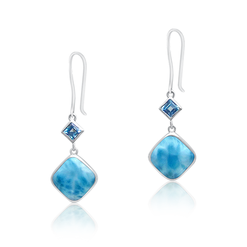 Savannah Larimar & Blue Topaz Drop Earrings - Exclusive Diamond Co
