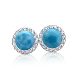 Luna Larimar & White Topaz Halo Earrings - Exclusive Diamond Co