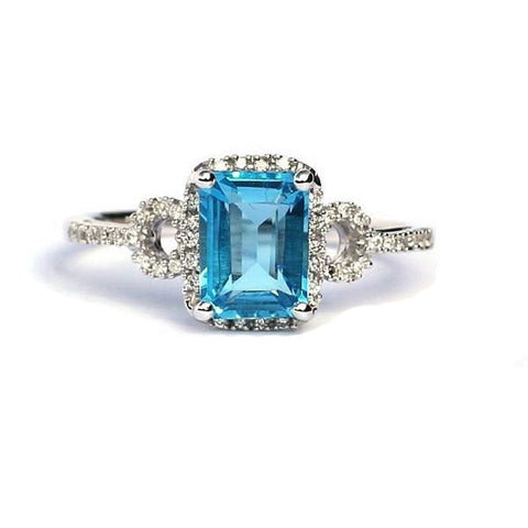 Callie Blue Topaz & Diamond Ring - Exclusive Diamond Co