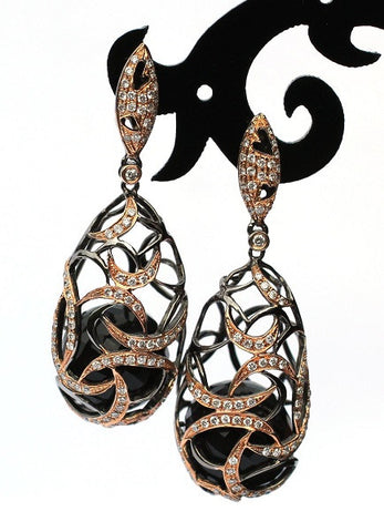 Elise Onyx & Diamond Venetian Earrings - Exclusive Diamond Co