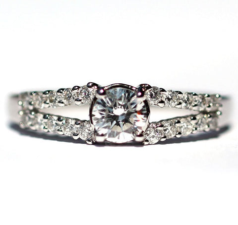 Lucy Split Band White Diamond Ring - Exclusive Diamond Co