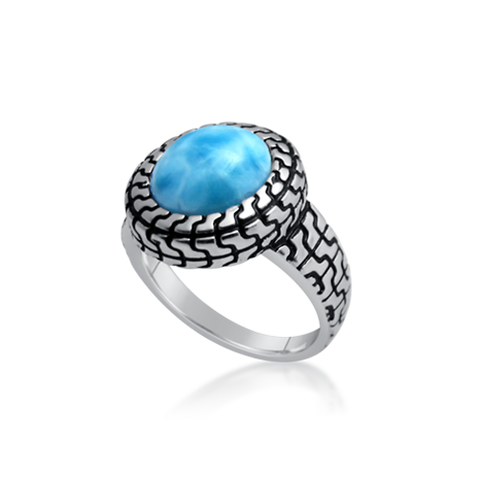 Rhiannon Puzzle Larimar Ring - Exclusive Diamond Co