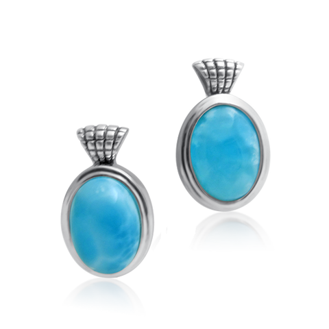 Astara Checkered Larimar Earrings - Exclusive Diamond Co