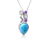 Lulu Larimar, White Topaz & Amethyst Pendant - Exclusive Diamond Co