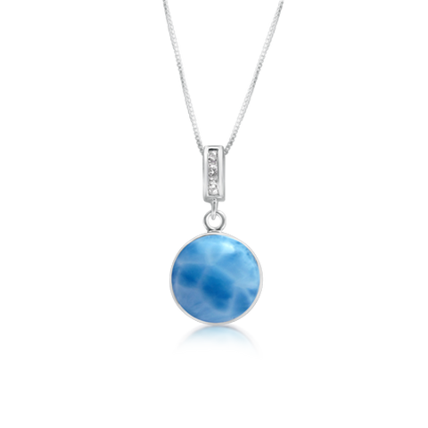 Isla Larimar & White Topaz Pendant - Exclusive Diamond Co