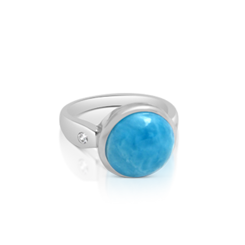 Saffron Larimar & White Topaz Ring - Exclusive Diamond Co