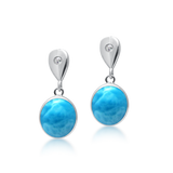 Saffron Larimar & White Topaz Drop Earrings - Exclusive Diamond Co