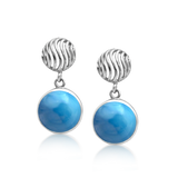 Rumour Larimar Round Drop Earrings - Exclusive Diamond Co