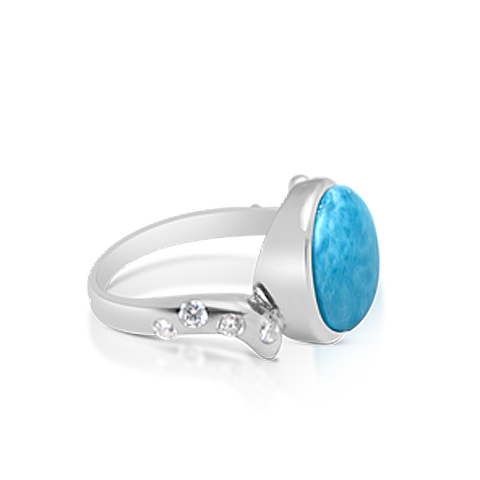 Willow Larimar & White Topaz Ring - Exclusive Diamond Co