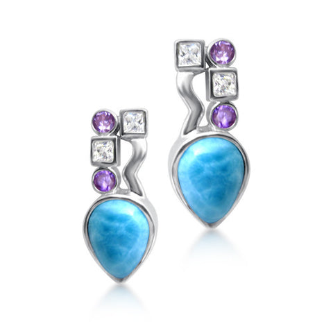 Lulu Larimar, White Topaz & Amethyst Earrings - Exclusive Diamond Co