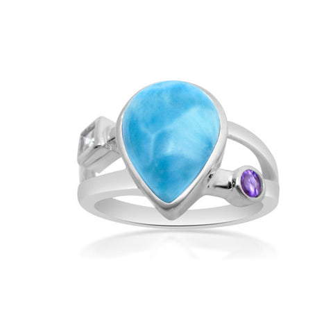 Lulu Larimar, White Topaz & Amethyst Ring - Exclusive Diamond Co