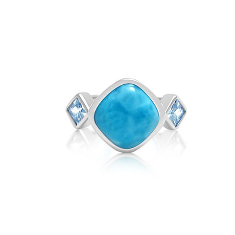 Savannah Larimar & Blue Topaz Ring - Exclusive Diamond Co
