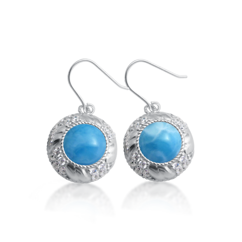 Eliza Larimar & White Topaz Earrings - Exclusive Diamond Co