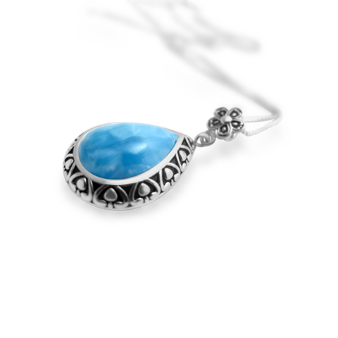 Bethany Petal Larimar Pendant - Exclusive Diamond Co