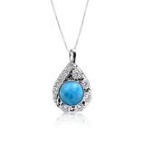 Pamela Larimar & White Topaz Pendant - Exclusive Diamond Co