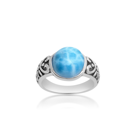Lennox Winding Larimar Ring - Exclusive Diamond Co
