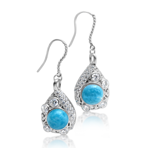 Pamela Larimar & White Topaz Earrings - Exclusive Diamond Co