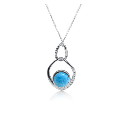 Cobi Freeform Larimar Drop Pendant - Exclusive Diamond Co