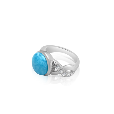 Blaire Larimar & White Topaz Ring - Exclusive Diamond Co