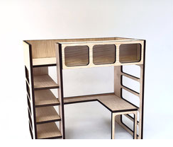 1:12 Modern Bunk Bed w Desk DIY Kit