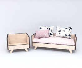 1:12 Modern Sofa Set w/Chair DIY Kit
