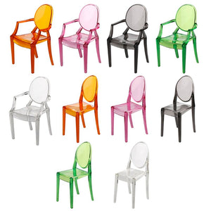 1:6 Miniature Clear Transparent Plastic Chair