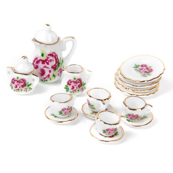 1/12 15 pieces Porcelain Rose Tea Cup Set
