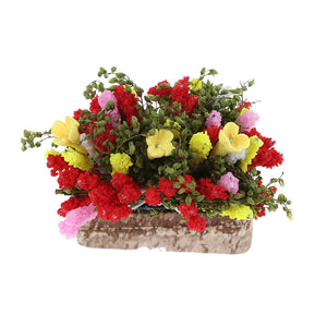 1/12 Multicolor Flower Bush With Wood Pot