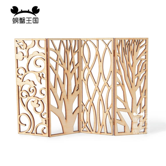 8pcs Miniature Chinese Wood Privacy Screen