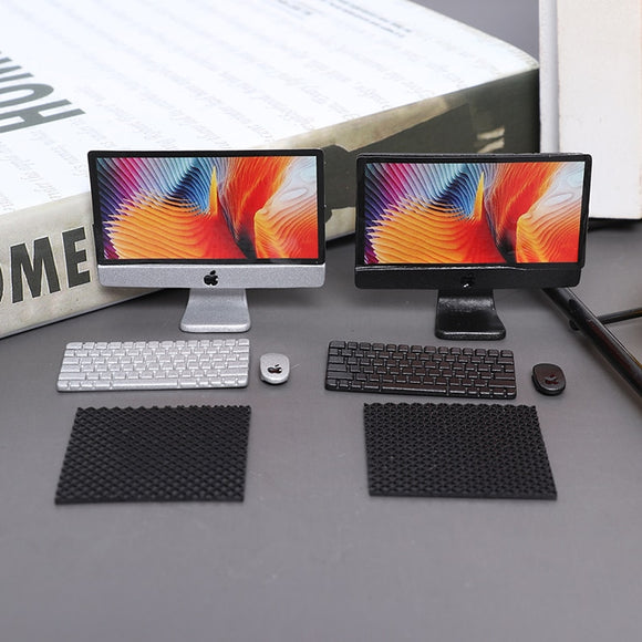 1Set 1:12 Scale Mini Computer+Mouse+Keyboard