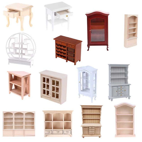 1:12 Miniature Wood Cupboards-Cabinet Shelving Units