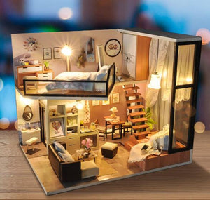 DIY LED Lighted Loft Style Miniature Dollhouse Kit