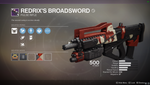 "Legendary Pulse Rifle - ""Redrix's Broadsword"""