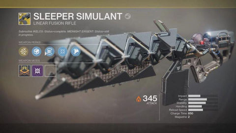"Exotic Linear Fusion Rifle - ""Sleeper Simulant"""