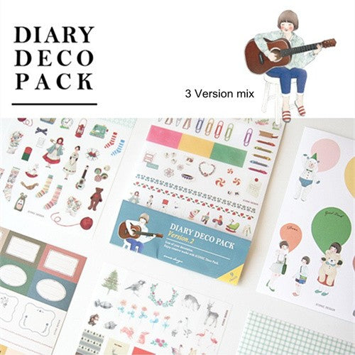 3-Pack Lady Diary Art Deco Stickers