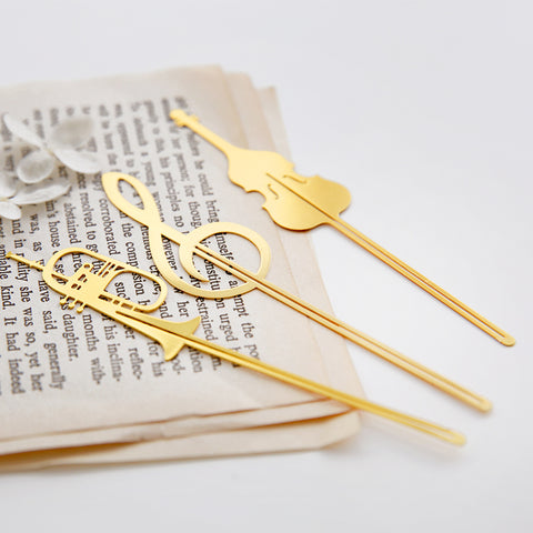 Bookmarkers - Musical Notes Gold Metal Bookmarks