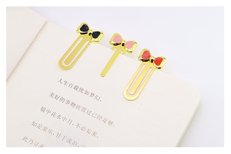 Metal Bookmarks - Valiosopa Gold Bow Bookmark