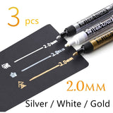 3-Piece White Gold Silver Writing Pen Markers