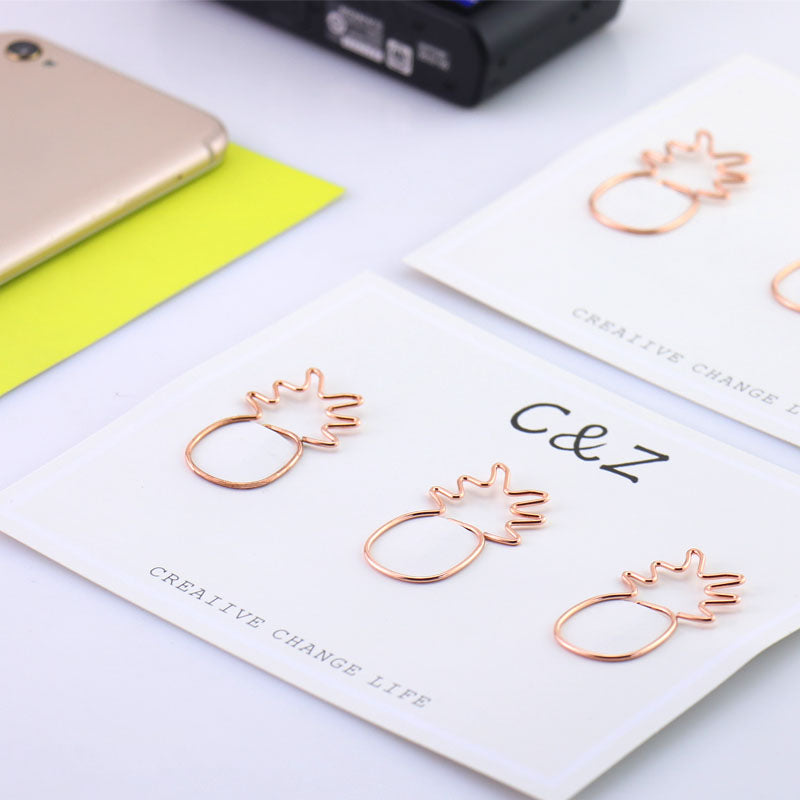 Pineapple Paper Clips in Gold