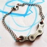 Upcycled Bike Chain Bracelet: LINKS Bracelet; Fidget Bracelet, Stainless Steel and Copper