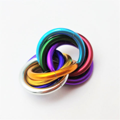 Half Möbii® Rainbow: Small Mobius Hand Fidget Toy, Shiny Stress Rings for Restless Hands, Office Toy