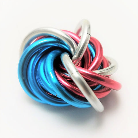 Möbii® Cotton Candy: Small Blue and Pink Restless Hand Fidget Toy, Shiny Multicolor Stress Ball
