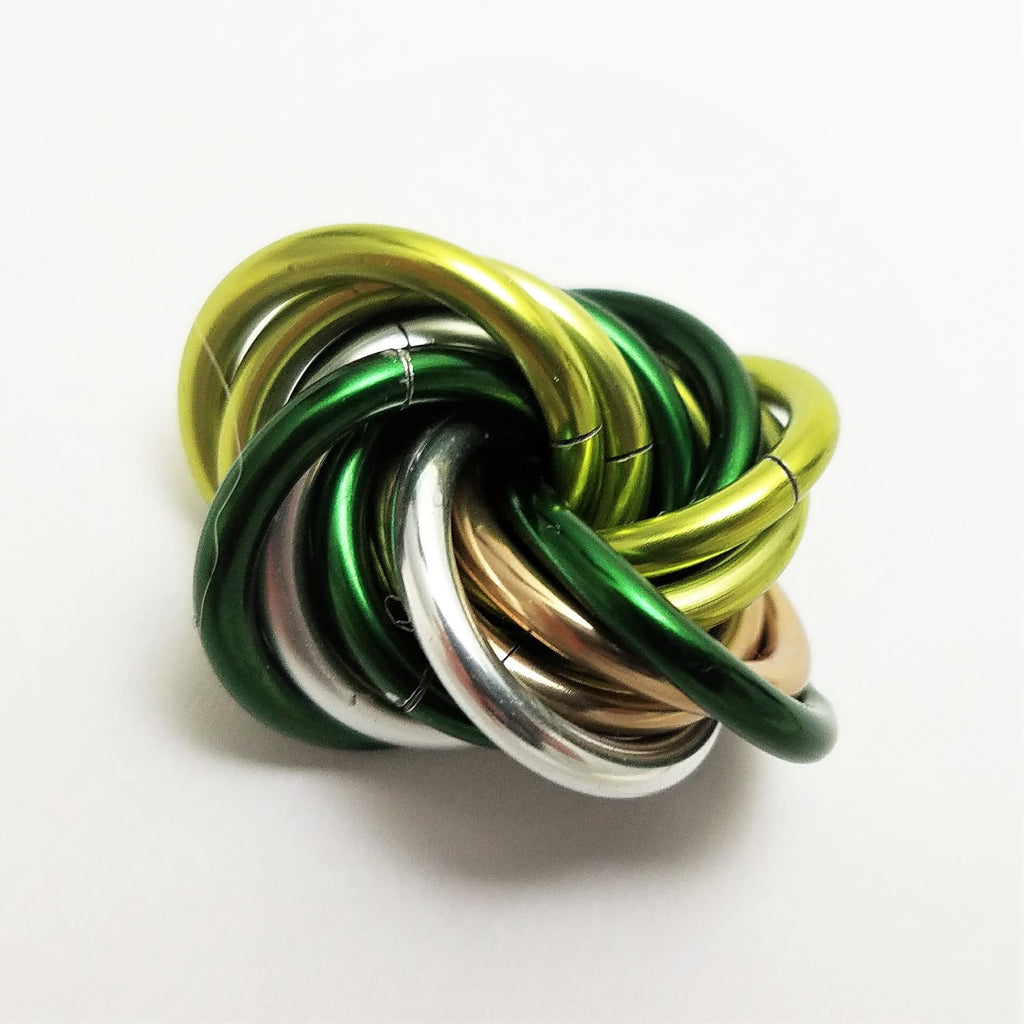 Möbii® Shamrock: Small Green Mobius Restless Hand Fidget Toy, Shiny Multicolor Stress Ball